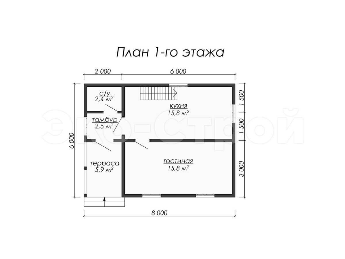 Дом из бруса ДУ 002 план 1 этажа