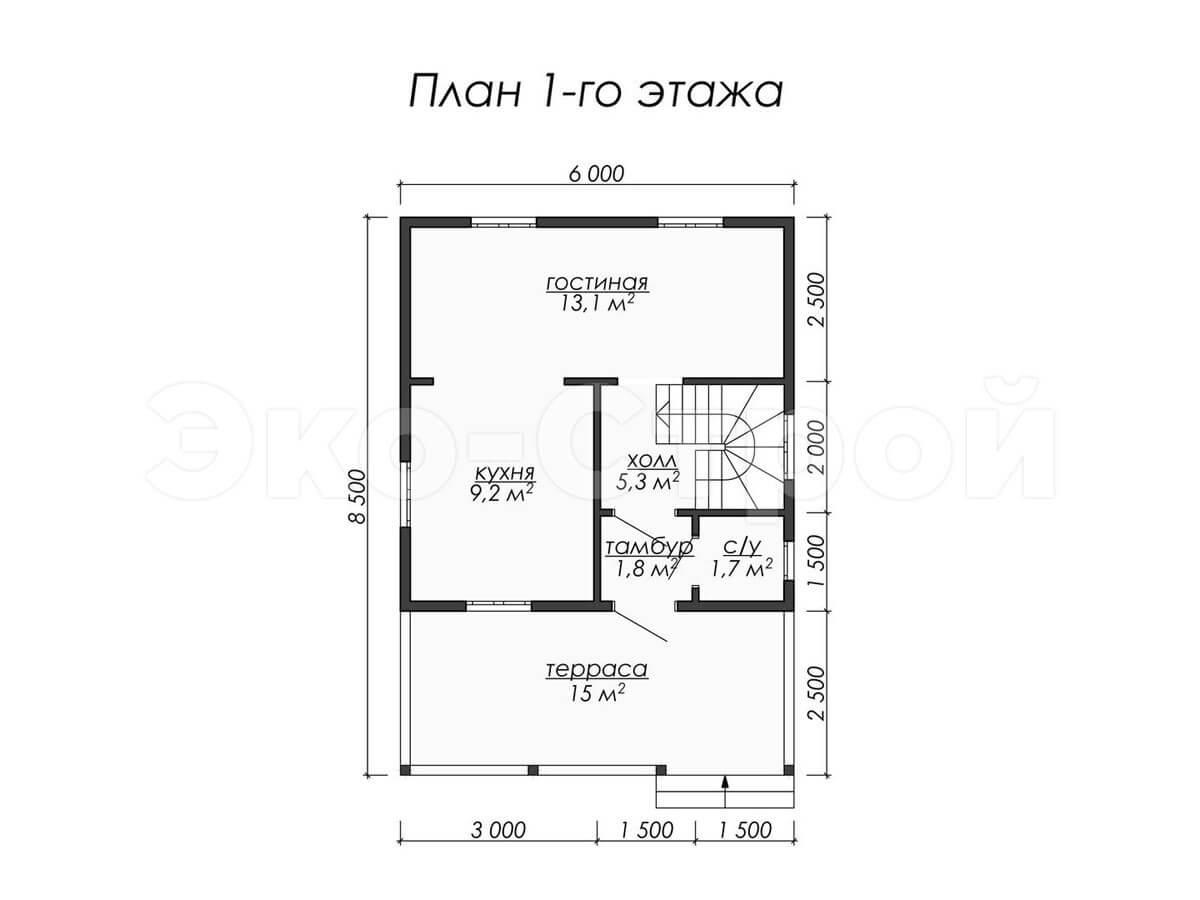 Дом из бруса ДУ 003 план 1эт