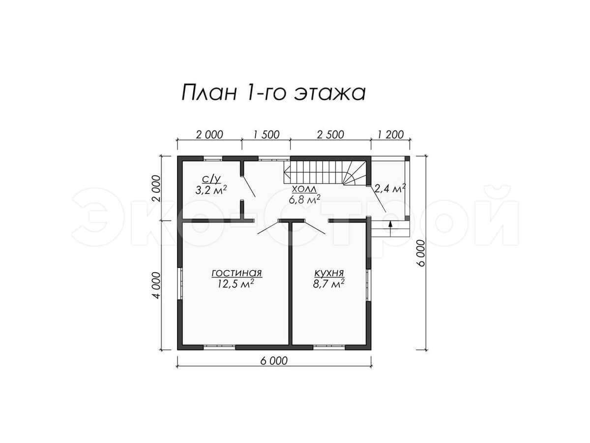 Дом из бруса ДУ 004 план 1 эт