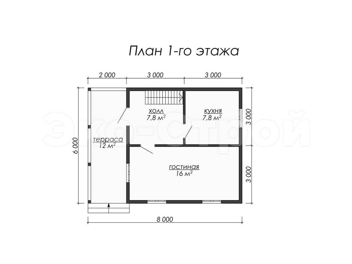 Дом из бруса ДУ 005 план 1 эт