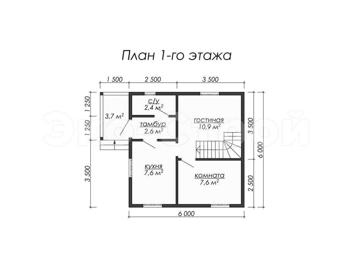 Дом из бруса ДУ 006 план 1 эт