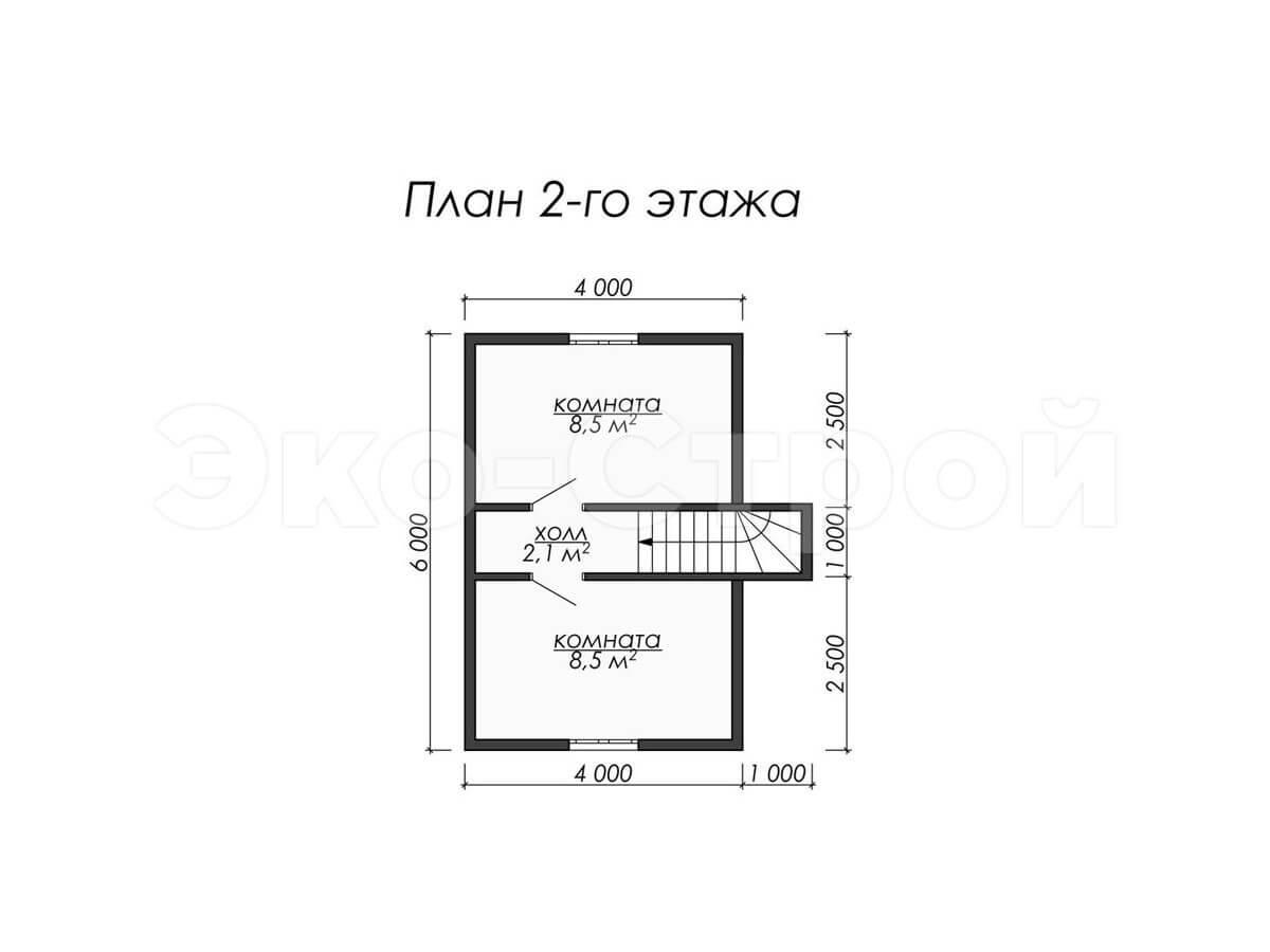 Дом из бруса ДУ 006 план 2 эт
