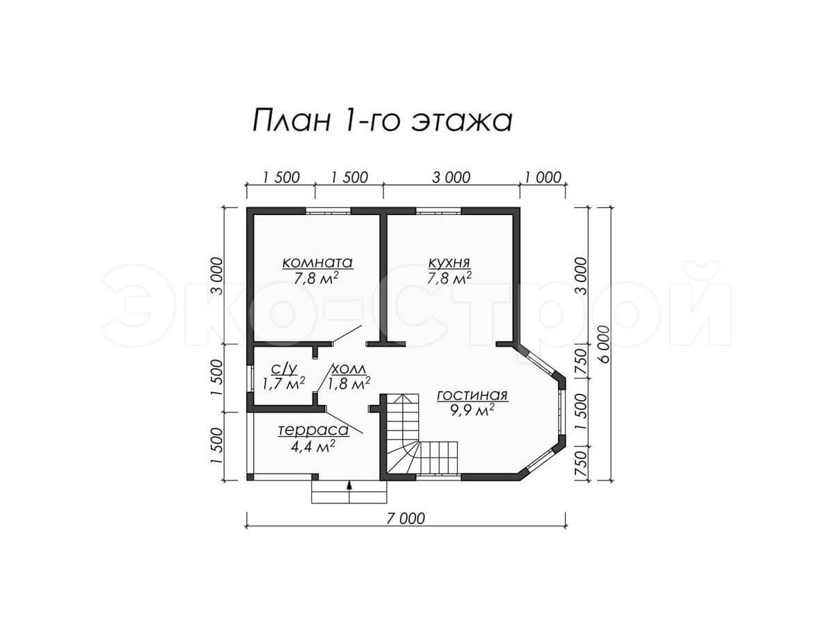 Дом из бруса ДУ 007 план 1 эт