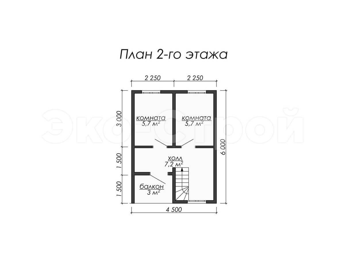 Дом из бруса ДУ 007 план 2 эт