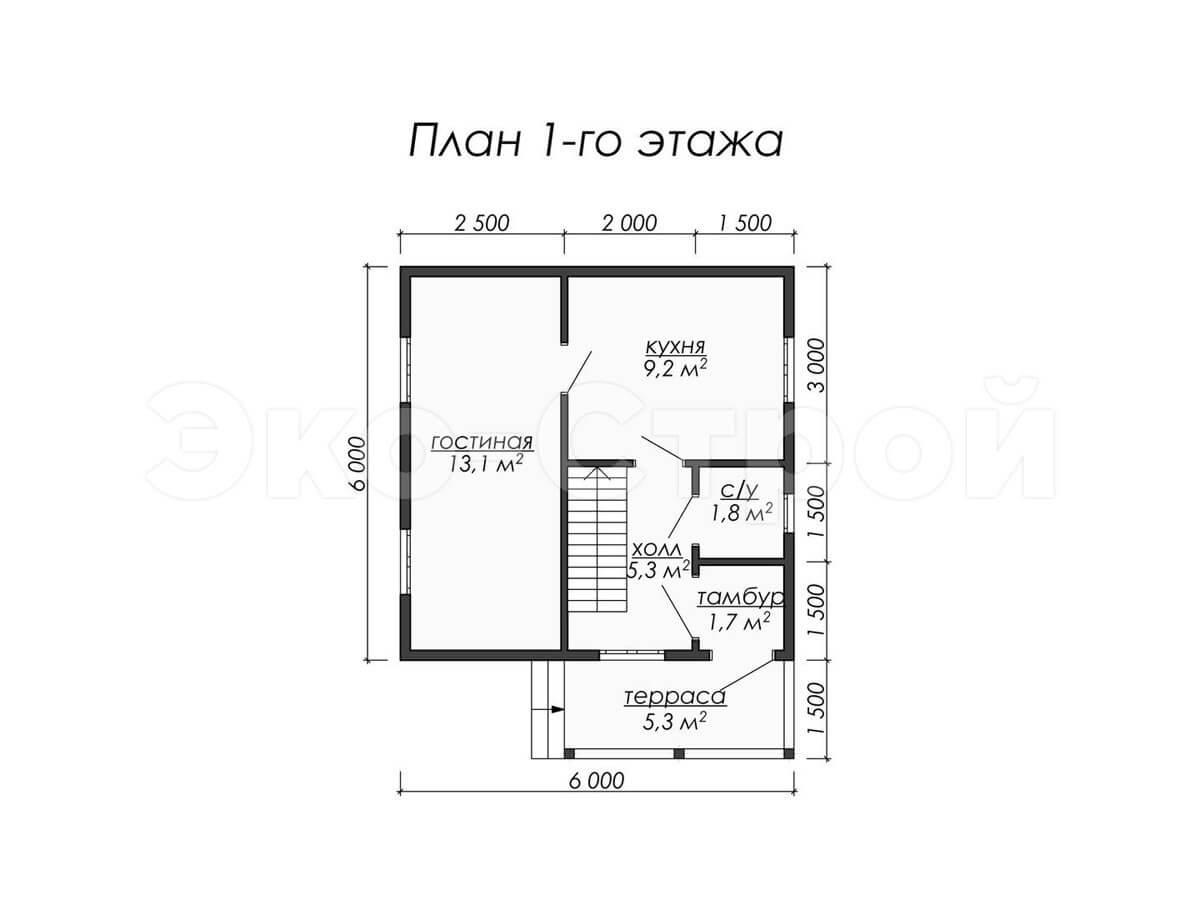 Дом из бруса ДУ 008 план 1 эт