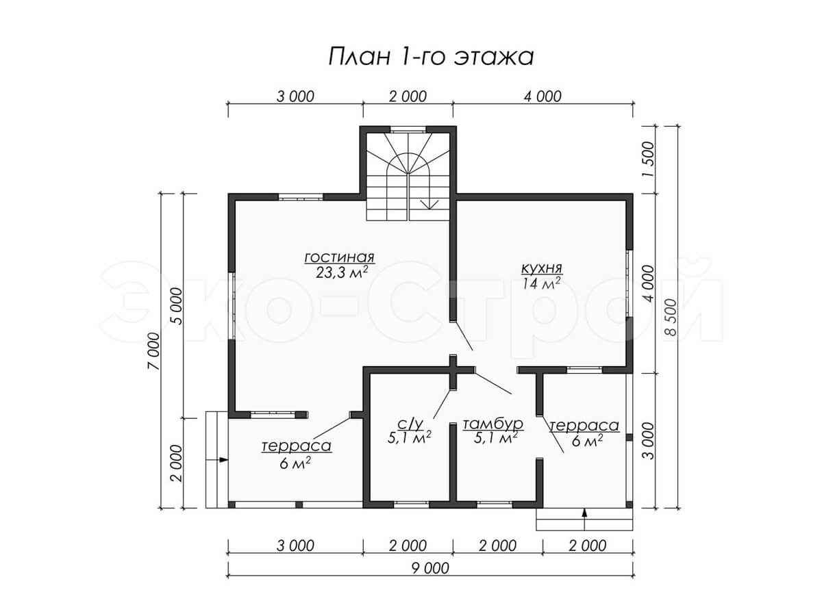 Дом из бруса ДУ 009 план 1 эт