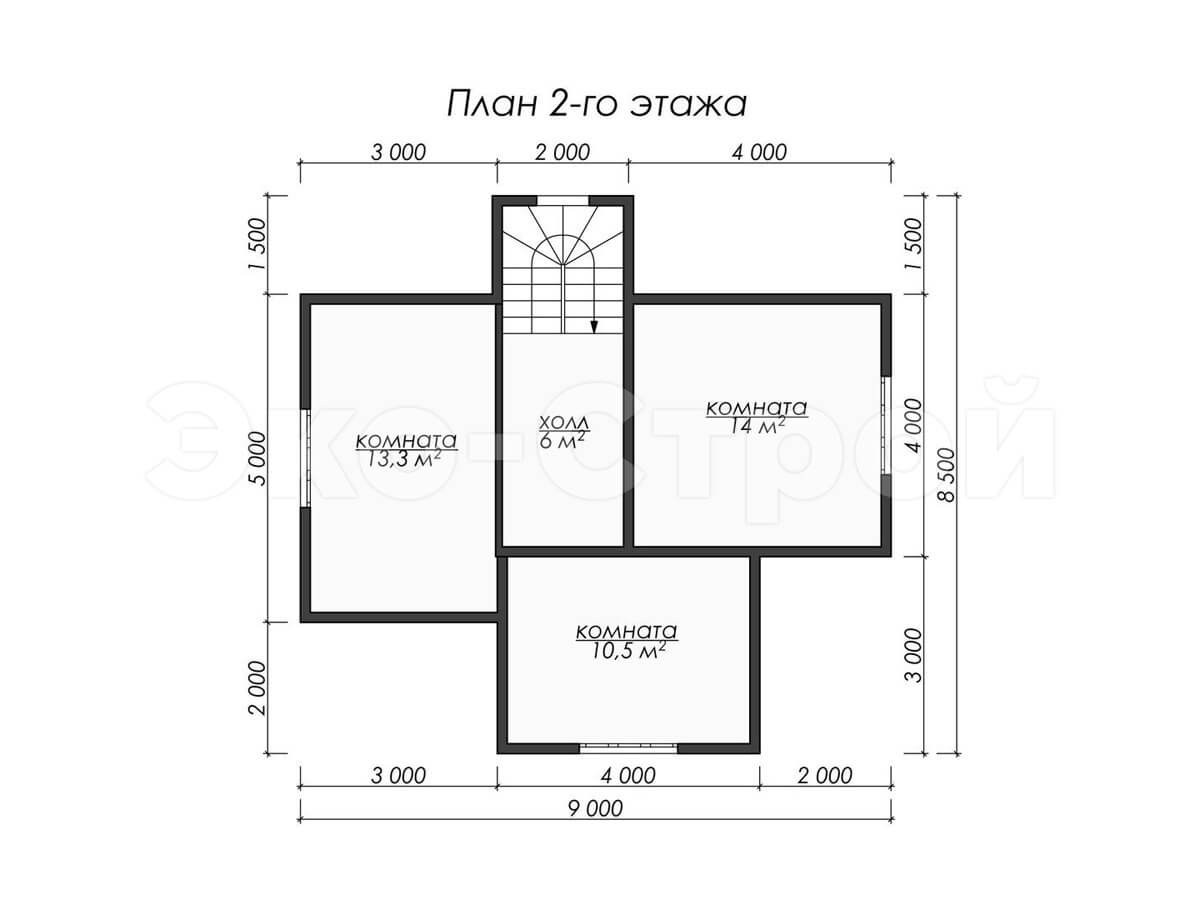 Дом из бруса ДУ 009 план 2 эт