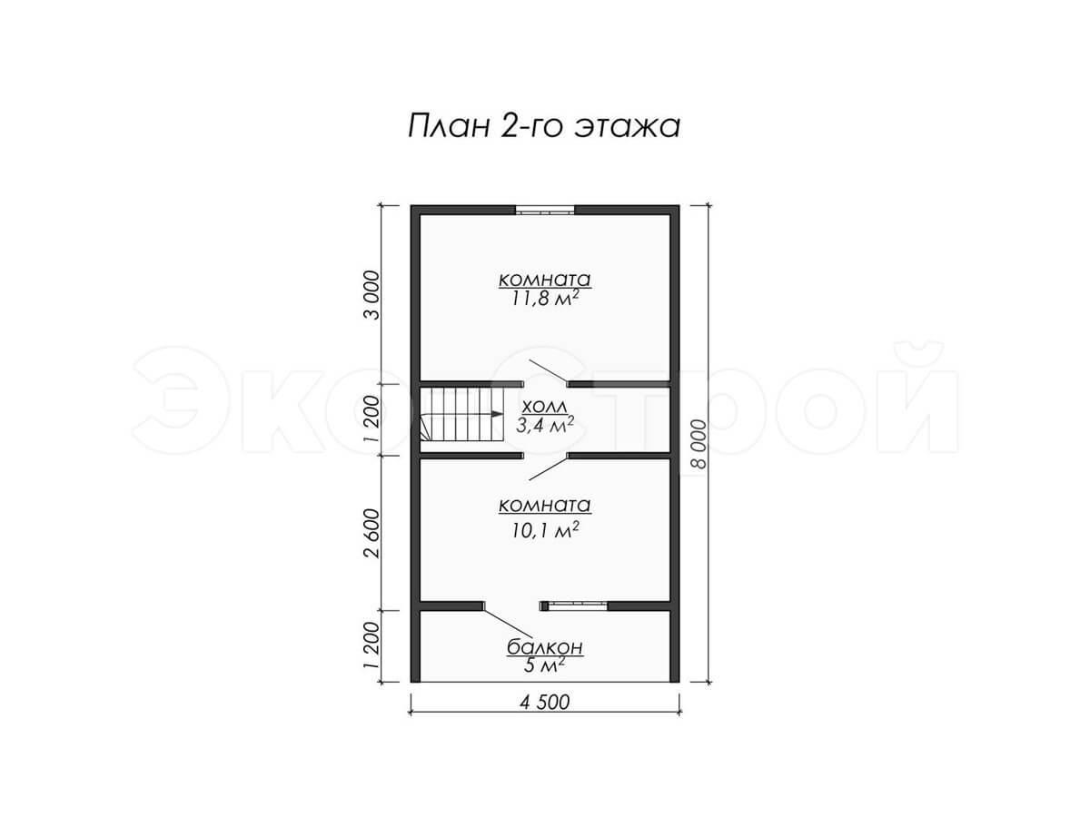 Дом из бруса ДУ 010 план 1 эт
