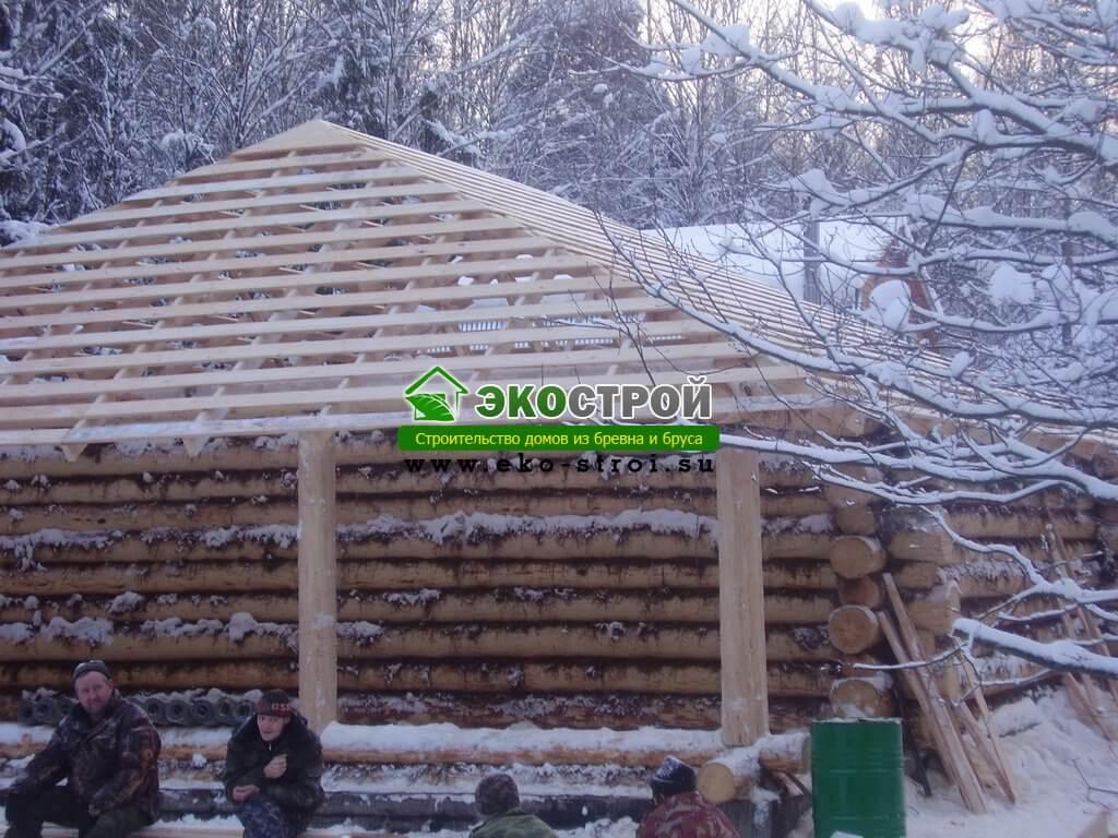 Фотографии строительства дома из бревна ручной работы