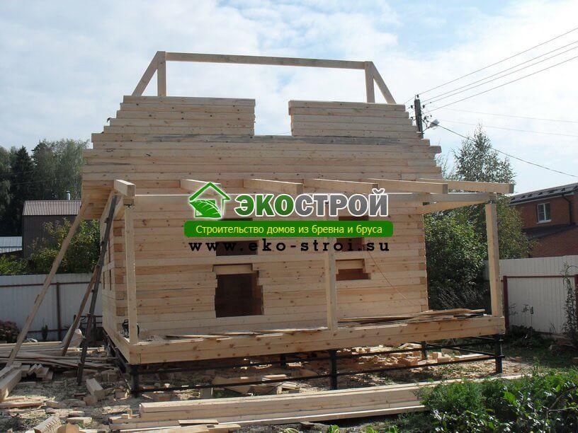 Фотографии строительства дома 6х6 с верандой 6х2 из бруса