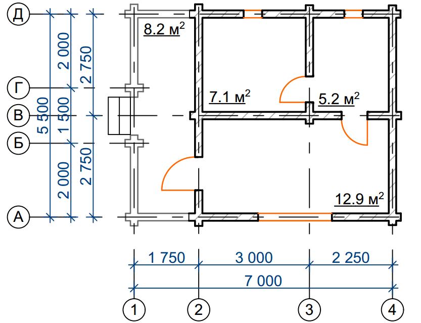 Баня из бревна БРЕ 001 - чертеж-схема