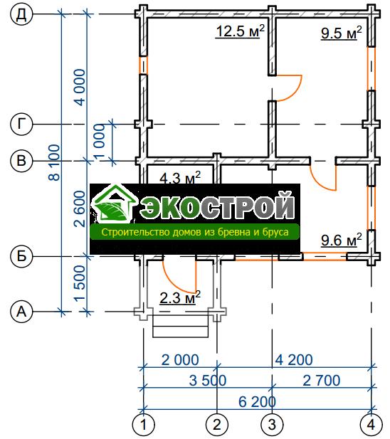 Баня из бревна БРЕ 002 чертеж-схема