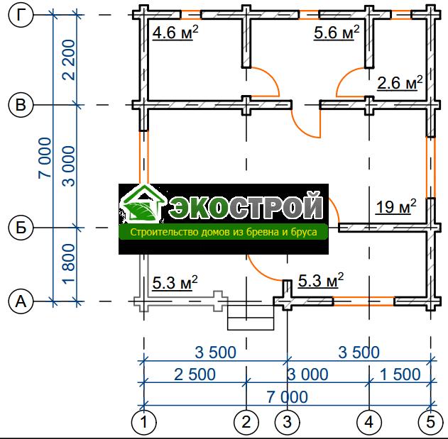 Баня из бревна БРЕ 003 чертеж-схема