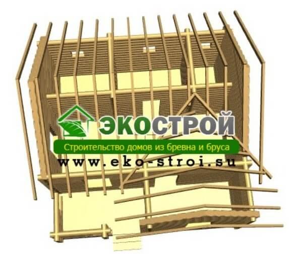 Баня из бревна БРЕ 003 пробрусовка вид 1