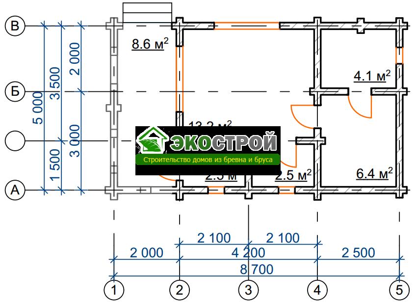Баня из бревна БРЕ 004 чертеж-схема
