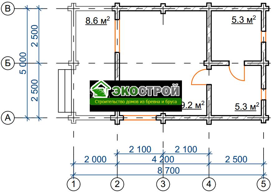 Баня из бревна БРЕ 005 чертеж-схема