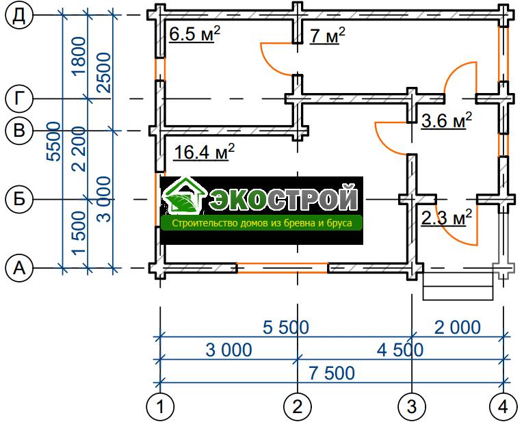 Баня из бревна БРЕ 007 чертеж-схема