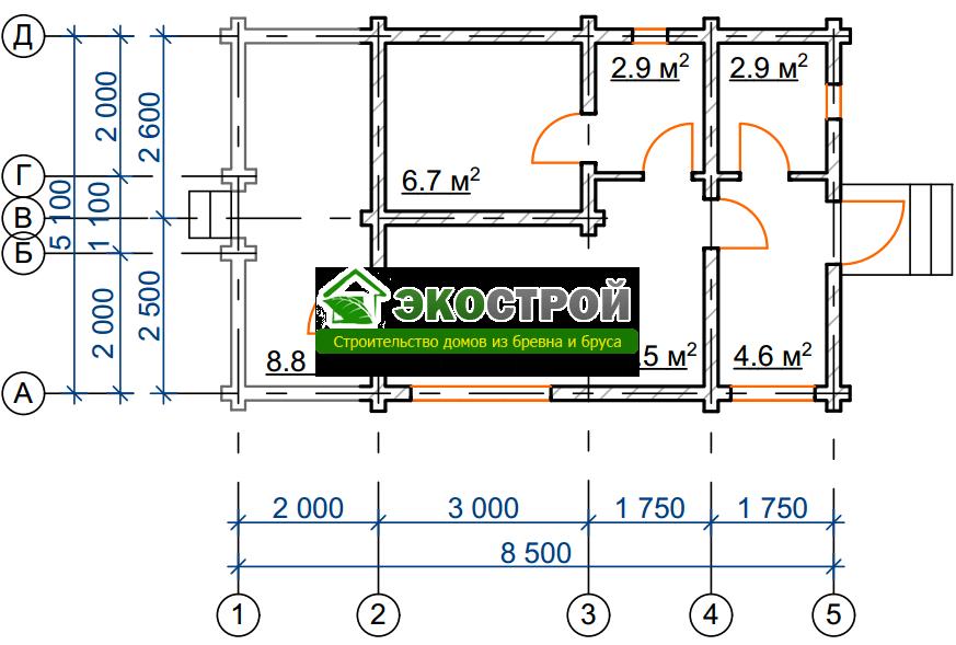 Баня из бревна БРЕ 008 чертеж-схема
