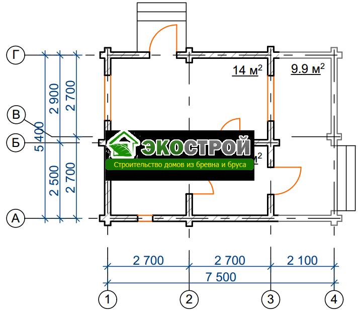 Баня из бревна БРЕ 009 чертеж-схема