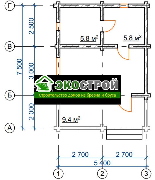 Баня из бревна БРЕ 010 чертеж-схема
