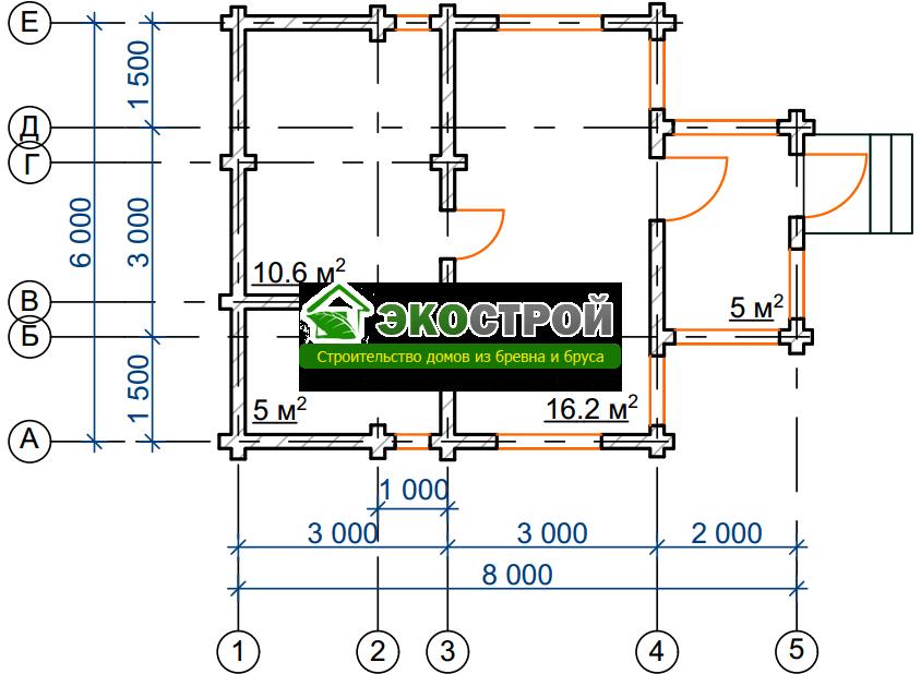 Баня из бревна БРЕ 011 чертеж-схема