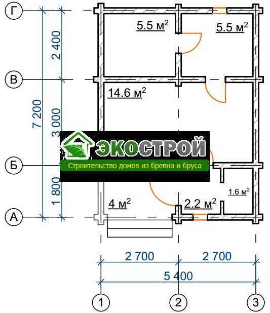 Баня из бревна БРЕ 012 чертех-схема