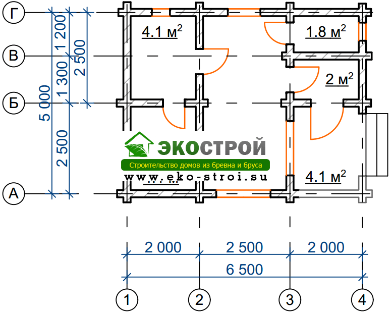 Баня из бревна БРЕ 014 чертеж-схема