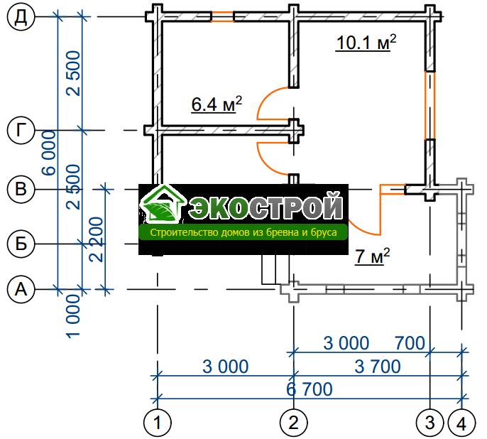 Баня из бревна БРЕ 015 чертеж-схема