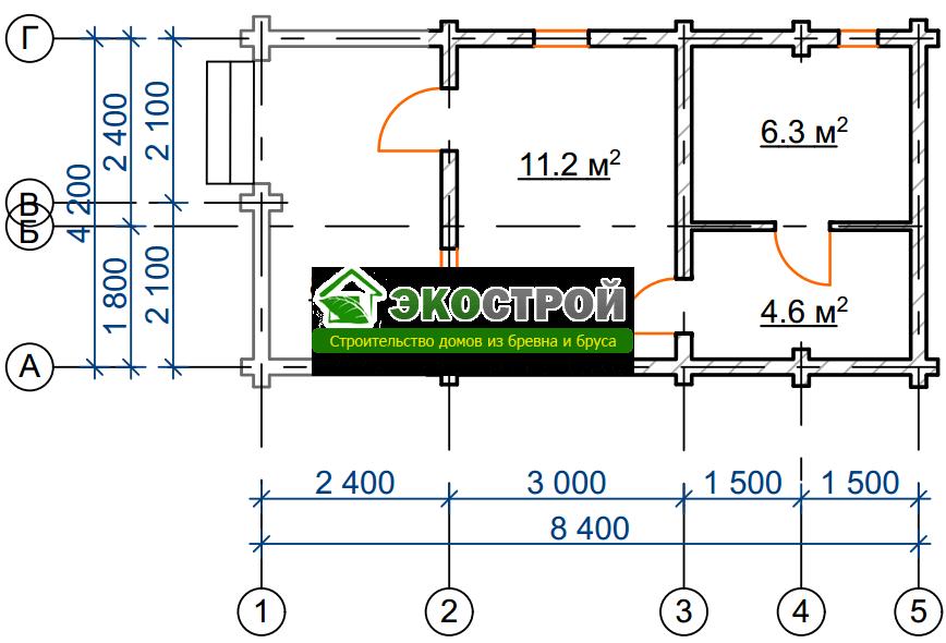 Баня из бревна БРЕ 017 чертеж-схема