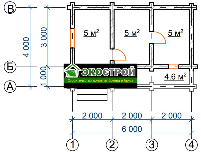 Баня из бревна БРЕ 018 чертеж-схема