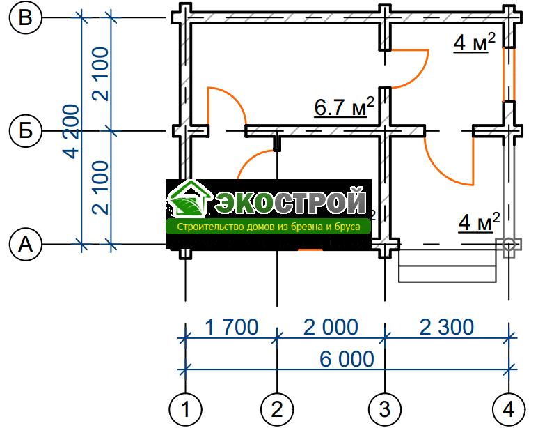 Баня из бревна БРЕ 019 чертеж-схема