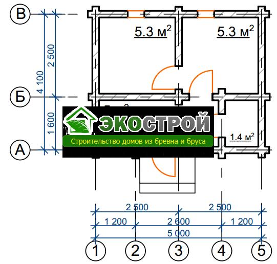Баня из бревна БРЕ 020 чертеж-схема