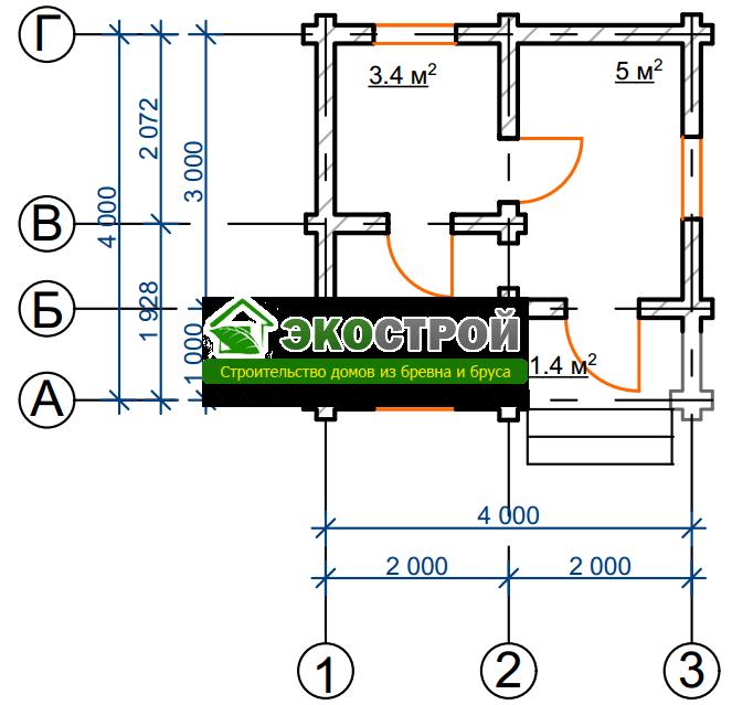 Баня из бревна БРЕ 021 чертеж-схема