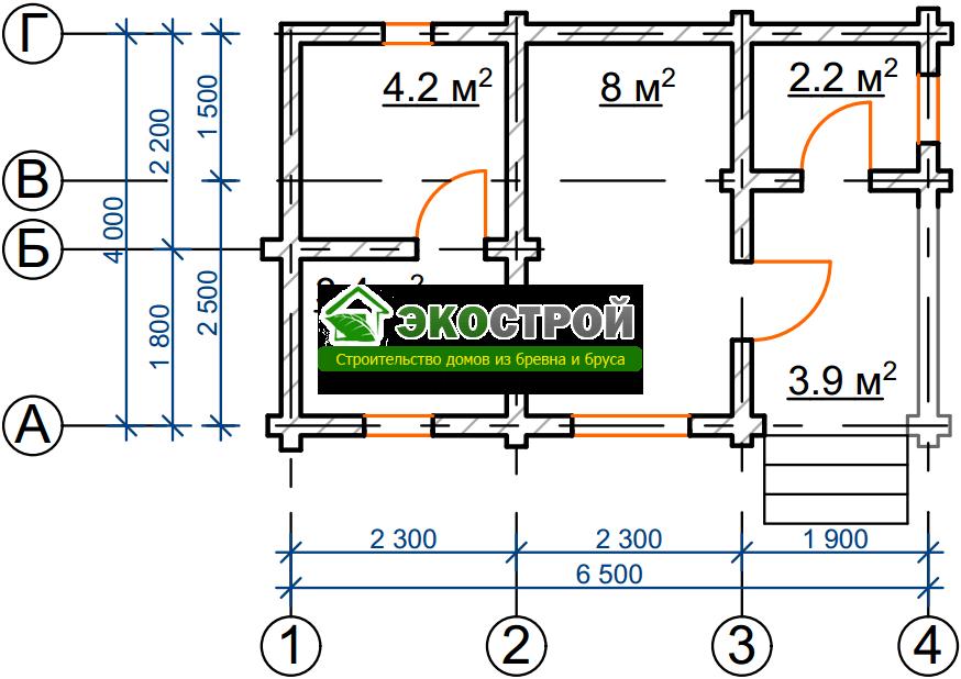 Баня из бревна БРЕ 022 чертеж-схема