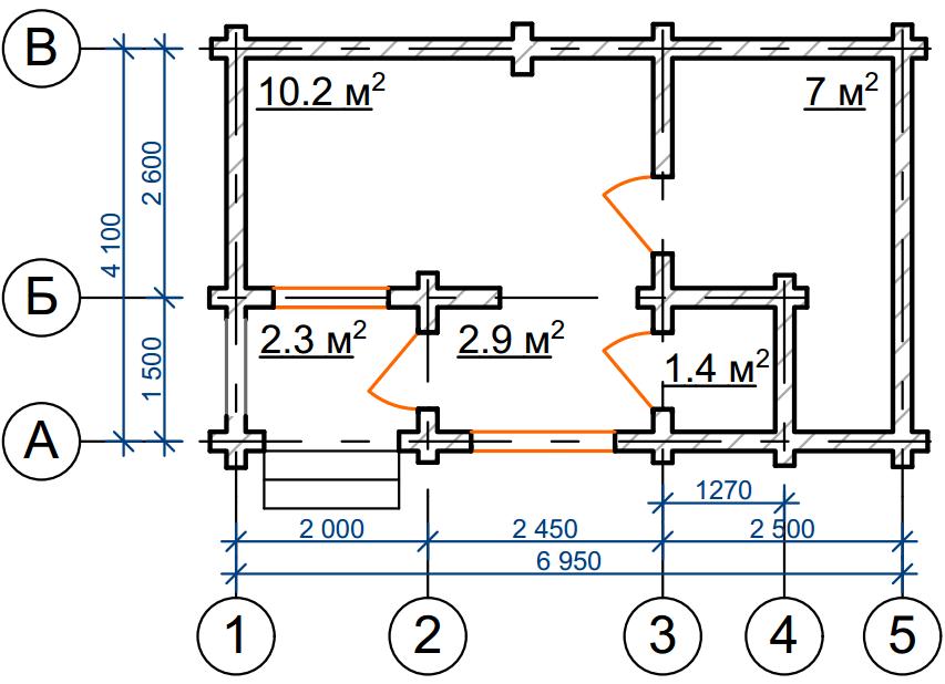 Баня из бревна БРЕ 024 чертеж-схема