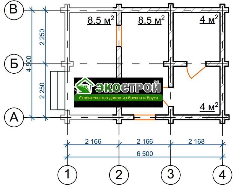 Баня из бревна БРЕ 025 чертеж-схема