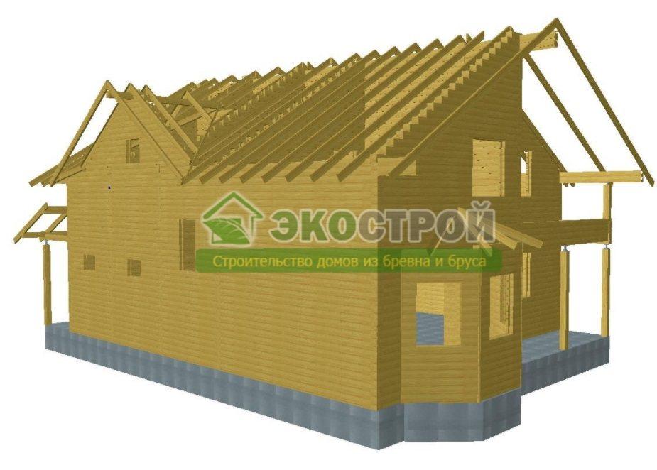 Дом из бруса ДУ 084 пробрусовка вид 2