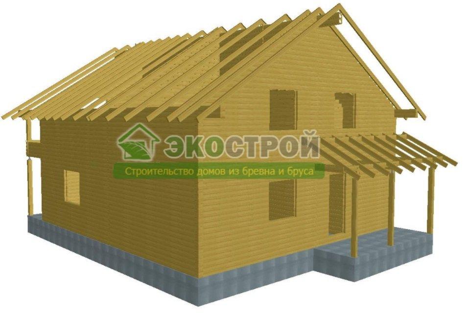 Дом из бруса ДУ 084 пробрусовка вид 3
