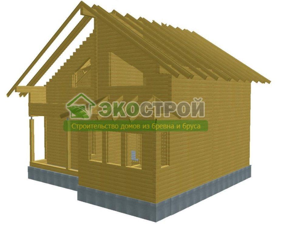 Дом из бруса ДУ 085 пробрусовка вид 2