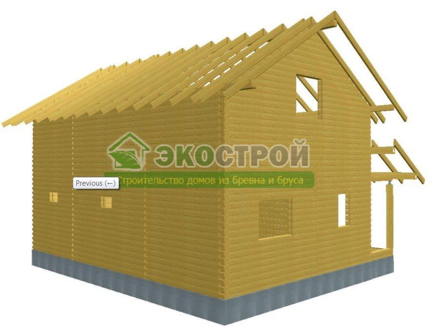 Дом из бруса ДУ 086 пробрусовка вид 4