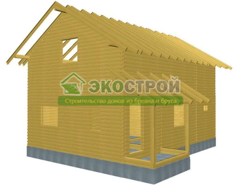 Дом из бруса ДУ 086 пробрусовка вид 3