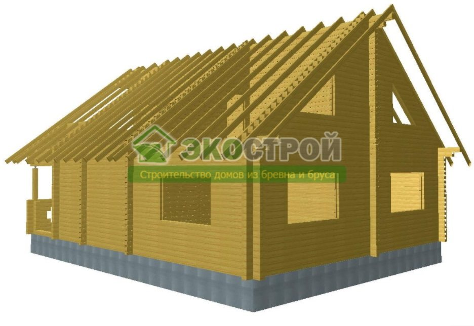 Дом из бруса ДУ 088 пробрусовка вид 2