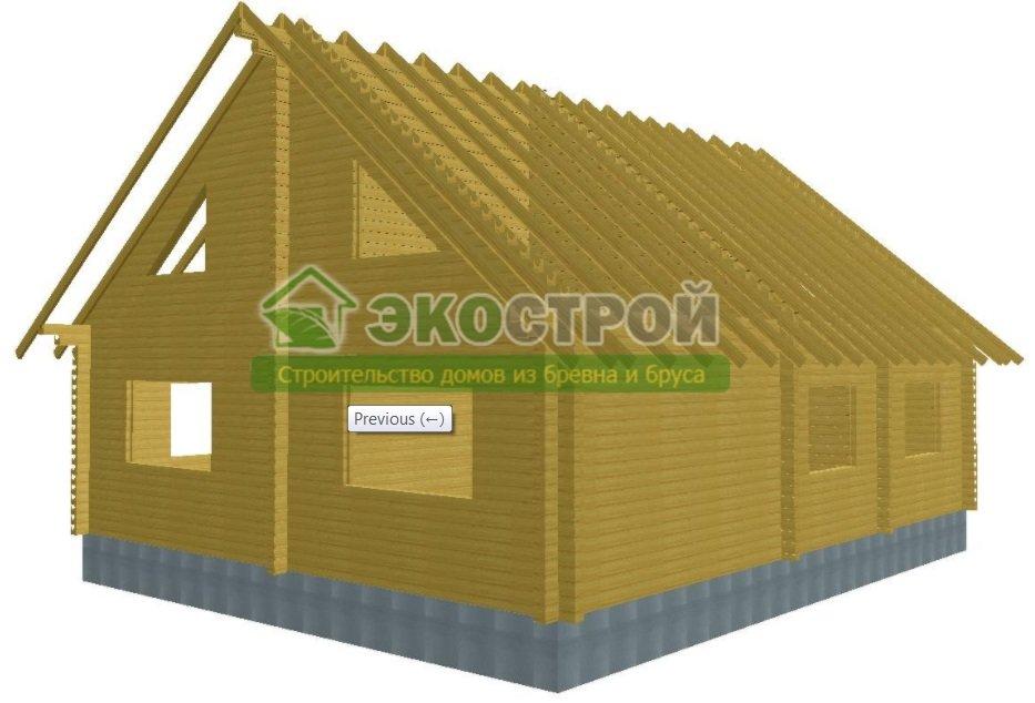 Дом из бруса ДУ 088 пробрусовка вид 3