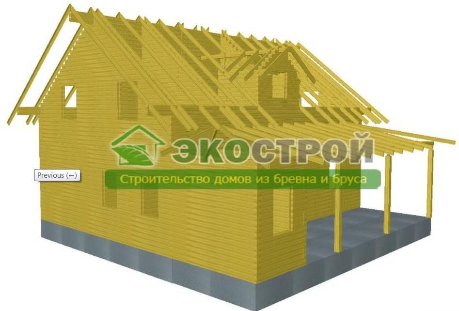 Дом из бруса ДУ 090 пробрусовка вид 2