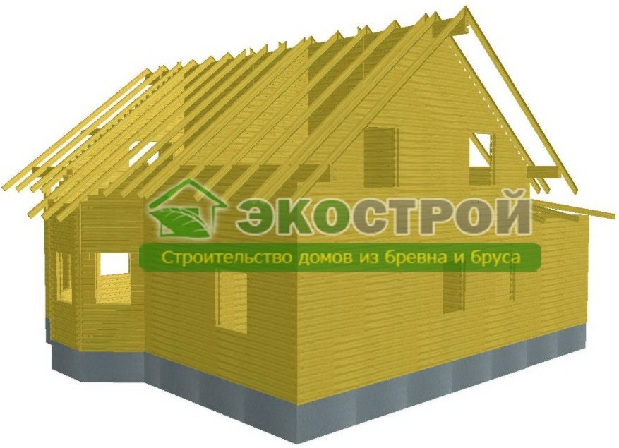 Дом из бруса ДУ 090 пробрусовка вид 3