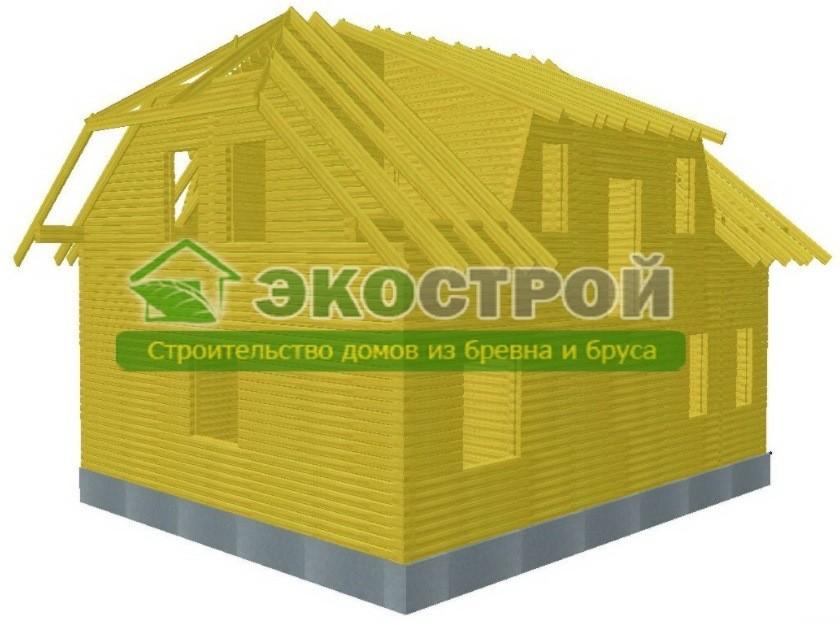 Дом из бруса ДУ 091 пробрусовка вид 2
