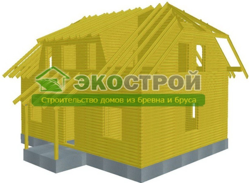 Дом из бруса ДУ 091 пробрусовка вид 3