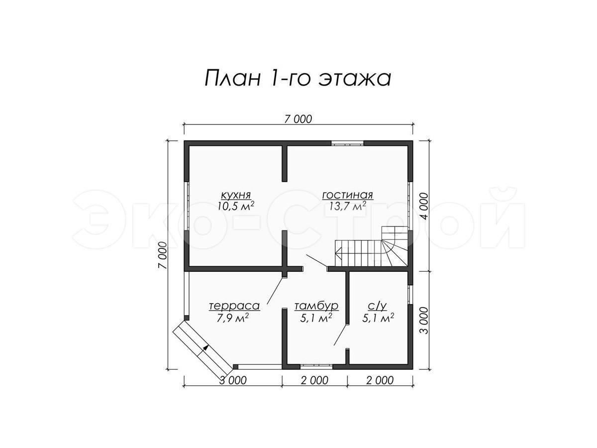 Дом из бруса ДУ 011 план 1 эт