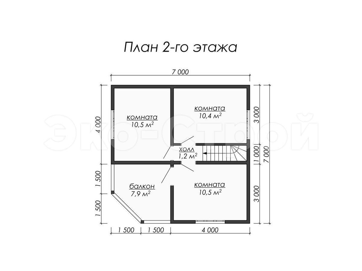 Дом из бруса ДУ 011 план 2 эт