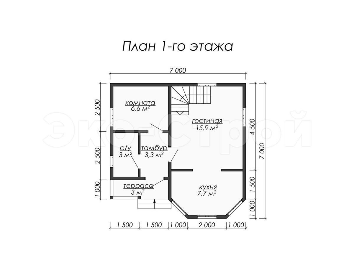 Дом из бруса ДУ 012 план 1 эт
